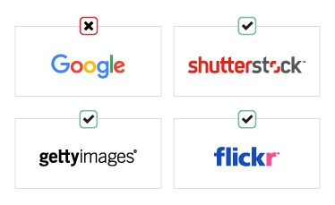 Logos of Google, Shutterstock, Gettyimages and Flickr