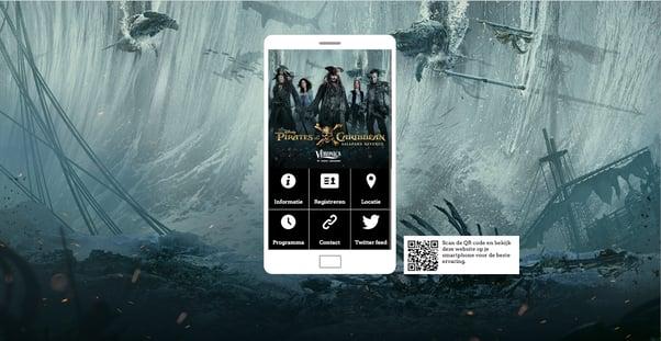 Event website voor de première van 'Pirates of the Caribbean'