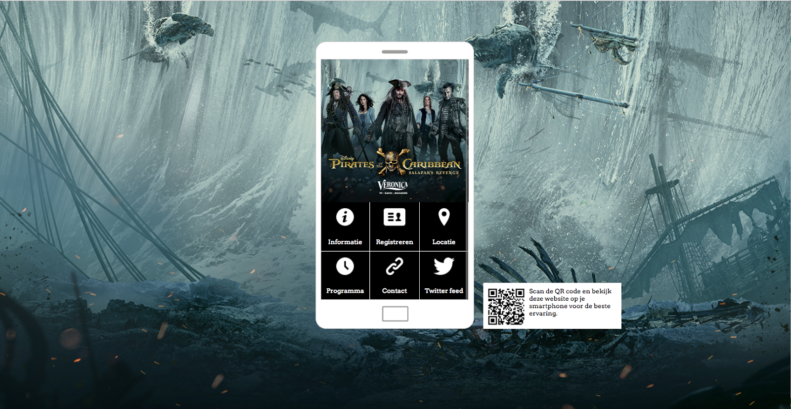 Event website voor de première van 'Pirates of the Caribbean'