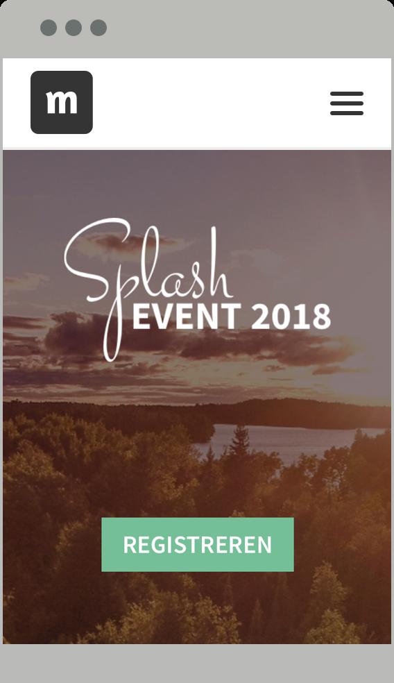 Responsive event website op mobiel