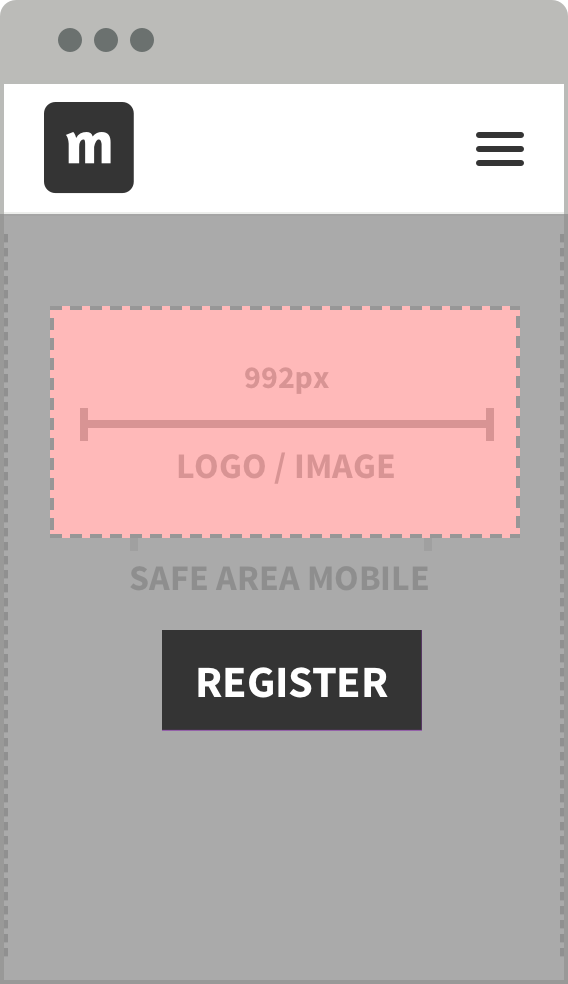Header with logo on mobile devices