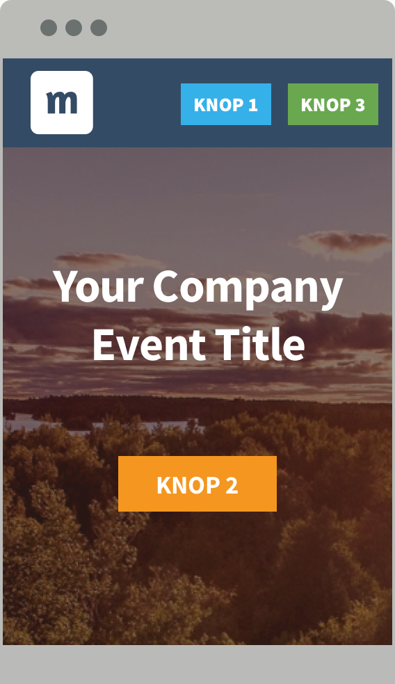 Buttons in the header of the event website