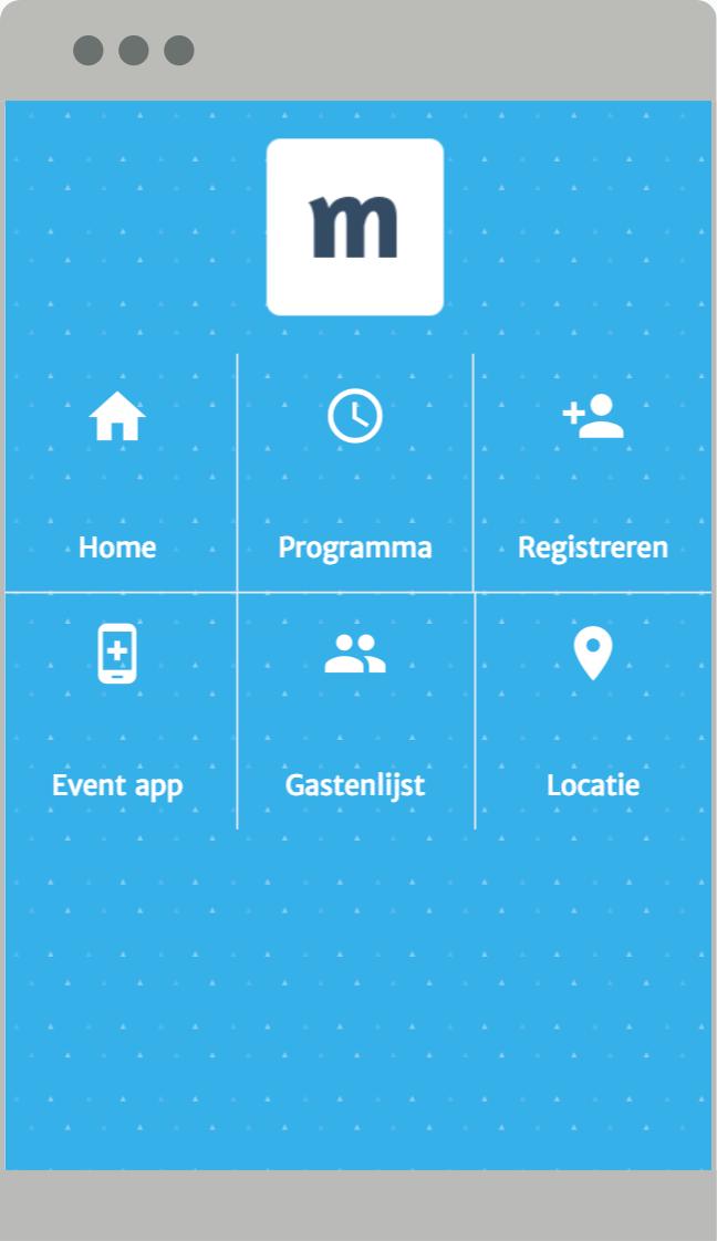 Mobiel menu met logo bovenin