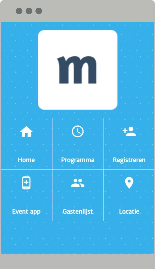 Event website menu op mobiel