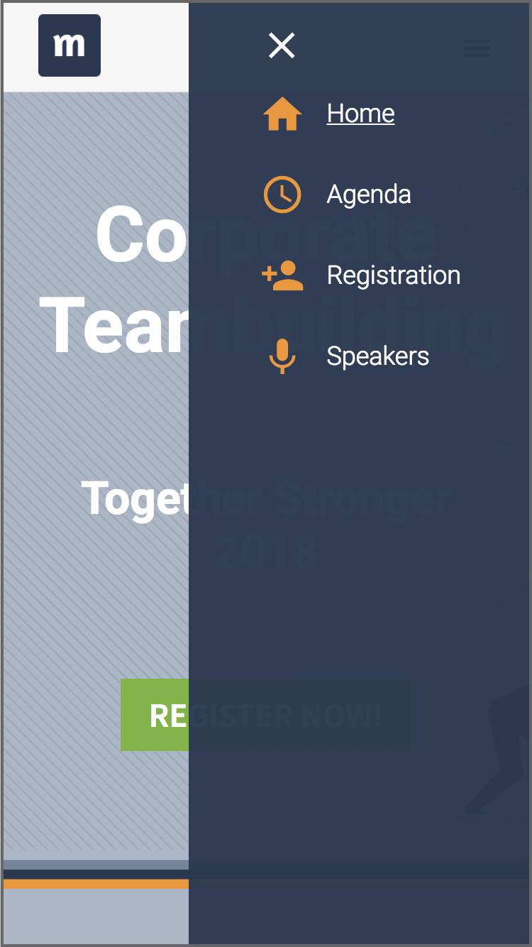 Mobiel menu event website slider